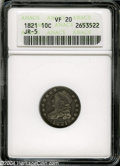 Bust Dimes: , 1821 10C Large Date VF20 ANACS JR-5....