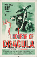 "Movie Posters:Horror, Horror of Dracula (Universal International, 1958). Folded, VeryFine-. One Sheet (27"" X 41""). Green Style, Joseph Smith Artw..."