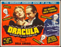 "Dracula (Realart, R-1951). Fine+ on Linen. Trimmed Half Sheet (21"" X 27.25""). Horror"