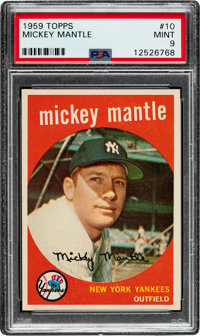 1959 Topps Mickey Mantle #10 PSA Mint 9 - Only One Higher