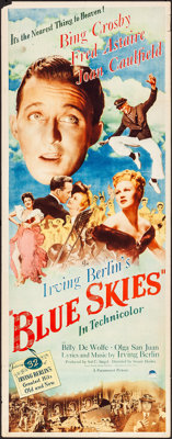 """Blue Skies (Paramount, 1946). Rolled, Fine/Very Fine. Insert (14"""" X 36""""). Musical"""