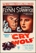 "Movie Posters:Mystery, Cry Wolf (Warner Brothers, 1947). Very Fine- on Linen. One Sheet(27.5"" X 41""). Mystery.. ..."