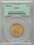 Liberty Half Eagles: , 1903-S $5 MS61 PCGS. PCGS Population: (482/3038). NGC Census: (807/3201). MS61. Mintage 1,855,000. ...