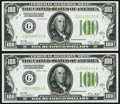 Small Size:Federal Reserve Notes, Fr. 2151-G $100 1928A Dark Green Seal Federal Reserve Notes. Two Consecutive Examples. About Uncirculated.. ... (Total: 2 notes)