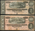 Confederate Notes:1864 Issues, T68 $10 1864 Fine or better.. ... (Total: 2 notes)