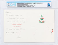 Neil Armstrong Signed Original 1993 Christmas Card to Janet Armstrong, Directly From The Armstrong Family Collecti
