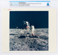 "Explorers:Space Exploration, Apollo 11: Original NASA ""Red Number"" Color Photo of Buzz Aldrin Deploying the EASEP on the Lunar Surface, July 20, 1969, Dire..."