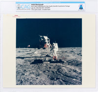 "Apollo 11: Original NASA ""Red Number"" Color Photo of Buzz Aldrin Deploying the EASEP on the Lunar Surface, Jul..."