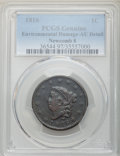 Large Cents, 1816 1C N-8, R.1, -- Environmental Damage -- PCGS Genuine. AU Details. NGC Census: (1/3). PCGS Population: (1/8). AU50....