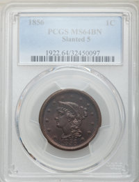 1856 1C Slanted 5 MS64 Brown PCGS. PCGS Population: (85/35). NGC Census: (0/0). CDN: $400 Whsle. Bid for problem-free NG...