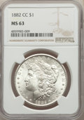 Morgan Dollars: , 1882-CC $1 MS63 NGC. NGC Census: (5659/9832). PCGS Population: (10381/20396). CDN: $215 Whsle. Bid for problem-free NGC/PCG...