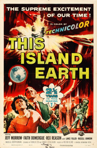 "This Island Earth (Universal International, 1955). Folded, Fine/Very Fine. Autographed One Sheet (27"" X 41"")..."