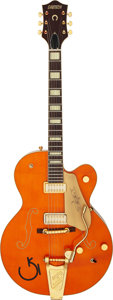 Musical Instruments:Electric Guitars, 2007 Gretsch G6120-CGP Orange Semi-Hollow Body Electric Guitar, Serial # JT07041457....