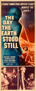 "Movie Posters:Science Fiction, The Day the Earth Stood Still (20th Century Fox, 1951). Fine+ on Linen. Insert (14"" X 36"").. ..."