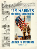 """Movie Posters:War, U.S. Marines: First to Hoist Old Glory... (U.S. Marines, 1913). Folded, Fine/Very Fine. Recruiting Poster (30"""" X 39.75"""") Ale..."""