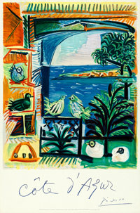 """Côte d'Azur by Pablo Picasso (French Government, 1962). Rolled, Very Fine. French Travel Poster (26"""" X 39&quo..."""