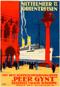 """Movie Posters:Miscellaneous, Mediterranean and Orient Trips (c. 1925). Very Fine on Linen. German Travel Poster (26"""" X 37.25"""") Rudolf Ruffer Artwork.. ..."""