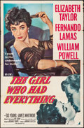 """Movie Posters:Romance, The Girl Who Had Everything (MGM, 1953). Folded, Fine/Very Fine.One Sheet (27"""" X 41""""). Romance.. ..."""