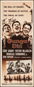 "Movie Posters:Action, Gunga Din (RKO, R-1954). Rolled, Fine+. Insert (14"" X 36"").Action.. ..."