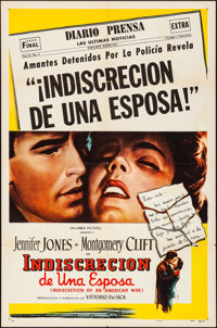"""Indiscretion of an American Wife (Columbia, 1954). Folded, Very Fine-. Spanish Language One Sheet (27"""" X 41"""")..."""