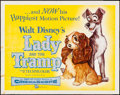"Movie Posters:Animation, Lady and the Tramp (Buena Vista, 1955). Folded, Fine/Very Fine. Half Sheet (22"" X 28""). Animation.. ..."