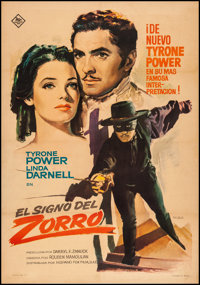 """The Mark of Zorro (20th Century Fox, 1963). Fine/Very Fine on Linen. First Release Spanish One Sheet (27"""" X 39""""..."""