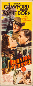 """Movie Posters:War, Reunion in France (MGM, 1942). Folded, Fine/Very Fine. Insert (14""""X 36""""). War.. ..."""
