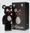 Collectible:Contemporary, BE@RBRICK X Roen. Roen Be@rbrick 1000%, 2009. Cast resin with flocking in black. 28 x 13-1/4 x 9-1/2 inches (71.1 x 33.7...