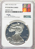 2001-W $1 Silver Eagle PR70 Ultra Cameo NGC. This lot will also include the following: 2002-W $1 Silver Eagle PR70 Ult...