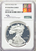 2010-W $1 Silver Eagle PR70 Ultra Cameo NGC. This lot will also include the following: 2011-W $1 Silver Eagle 25th Ann...