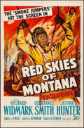 "Movie Posters:Adventure, Red Skies of Montana (20th Century Fox, 1952). Folded, Very Fine.One Sheet (27"" X 41""). Adventure.. ..."