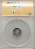 Bust Half Dimes, 1835 5C Large Date, Large 5C, VF30 ANACS. VF30. Mintage 2,760,000....
