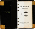 Explorers:Space Exploration, Apollo 11: Grumman LEM Program Management Data Pocket-size Binder, 1965-1966, Directly From The Armstrong Family Collectio...