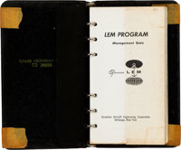 Apollo 11: Grumman LEM Program Management Data Pocket-size Binder, 1965-1966, Directly From The Armstrong Family C