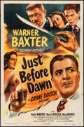 "Movie Posters:Mystery, Just before Dawn (Columbia, 1946). Folded, Fine/Very Fine. OneSheet (27"" X 41""). Mystery.. ..."