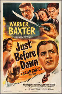 "Just before Dawn (Columbia, 1946). Folded, Fine/Very Fine. One Sheet (27"" X 41""). Mystery"