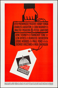 "Advise & Consent (Columbia, 1962). Folded, Very Fine+. One Sheet (27"" X 41""). Saul Bass Artwork. Drama..."