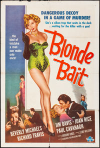 "Blonde Bait (Associated Film, 1956). Folded, Fine/Very Fine. One Sheet (27"" X 41""). Bad Girl"