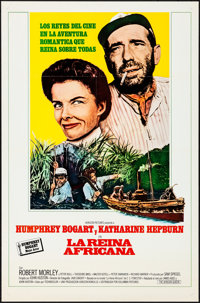 """The African Queen (Columbia, R-1960s). Folded, Very Fine. Spanish Language One Sheet (27"""" X 41""""). Adventure..."""