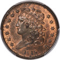 1835 1/2 C C-1, B-1, R.1, MS65 Red and Brown PCGS. CAC