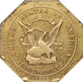 Territorial Gold , 1852 $50 RE Humbert Fifty Dollar, Reeded Edge, 887 Thous., AU50 NGC. K-11, R.5....