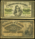 Canada Dominion of Canada 25 Cents 1.3.1870; 2.1.1900 DC-1; DC-15 Two Examples Very Good-Fine. ... (Total: 2 notes)