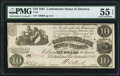 Confederate Notes:1861 Issues, T28 $10 1861 PF-10 Cr. 236B PMG About Uncirculated 55 EPQ.. ...