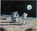 Explorers:Space Exploration, Apollo 11: Maurice Green Original Painting of Neil Armstrong and Buzz Aldrin on the Moon Directly From The Armstrong Family Co...