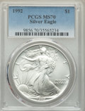 1992 $1 Silver Eagle MS70 PCGS. PCGS Population: (64). NGC Census: (627). Mintage 5,540,068