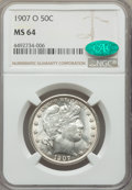 Barber Half Dollars: , 1907-O 50C MS64 NGC. CAC. NGC Census: (43/24). PCGS Population: (45/21). MS64. Mintage 3,946,600. ...
