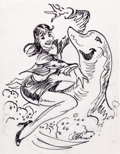 Original Comic Art:Sketches, Kelly Freas - Lady and Dolphin Specialty Sketch Original Art (c. 1990s)....