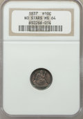 Seated Half Dimes, 1837 H10C No Stars, Large Date (Curl Top 1) MS64 NGC. NGC Census: (230/200). PCGS Population: (154/103). MS64. Mintage 1,40...