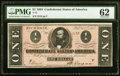 Confederate Notes:1864 Issues, T71 $1 1864 PF-1 Cr. 576 PMG Uncirculated 62.. ...