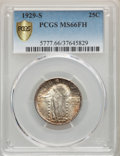 1929-S 25C MS66 Full Head PCGS. PCGS Population: (160/19 and 12/0+). NGC Census: (85/30 and 6/2+). MS66. Mintage 1,764,0...